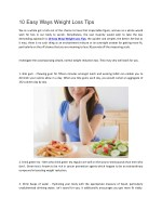 10 Easy Ways Weight Loss Tips