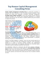 Top Human Capital Management Consulting Firms