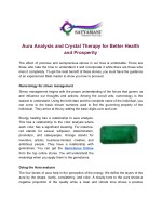 Aura Analysis and Crystal Therapy for Better Health and Prosperity