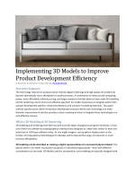 Implementing 3D Models to Improve Product Development Efficiency