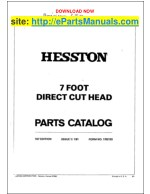 Hesston 7 Foot Parts Manual for Direct Cut Head