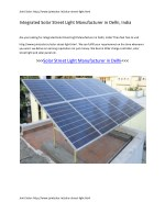 Integrated Solar Street Light Manufacturer in Delhi, India