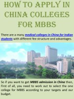 medical colleges in China for Indian students