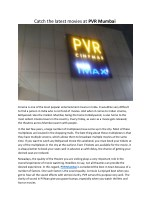 PVR Mumbai: For the best movie experience