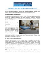 Avoiding Financial Mistakes in Divorce