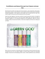 Find Effective and Natural Personal Care Products at Green Goo
