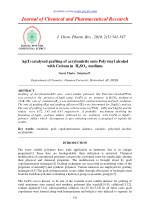 Ag(I) catalysed grafting of acrylonitrile onto Polyvinyl alcohol with Cerium in H2SO4 medium