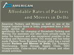 Affordable Rates of Packers and Movers in Delhi