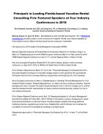 Principals in Leading Florida-based Vacation Rental Consulting Firm Featured Speakers at Four Industry Conferences in 20