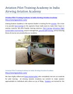 Aviation Pilot Training Academy in India Airwing Aviation Academy