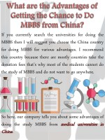 What are the Advantages of Getting the Chance to Do MBBS from China?
