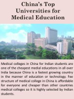 China's Top Universities for Medical Education