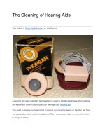 The Cleaning of Hearing Aids