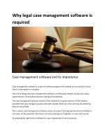 Why legal case management software is required