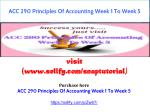 ACC 290 Principles Of Accounting Week 1 To Week 5