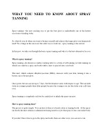 WHAT YOU NEED TO KNOW ABOUT SPRAY TANNING