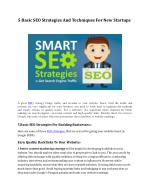 5 Basic SEO Strategies And Techniques For New Startups