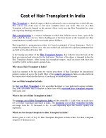What is the Cost of Hair Transplant in delhi, india