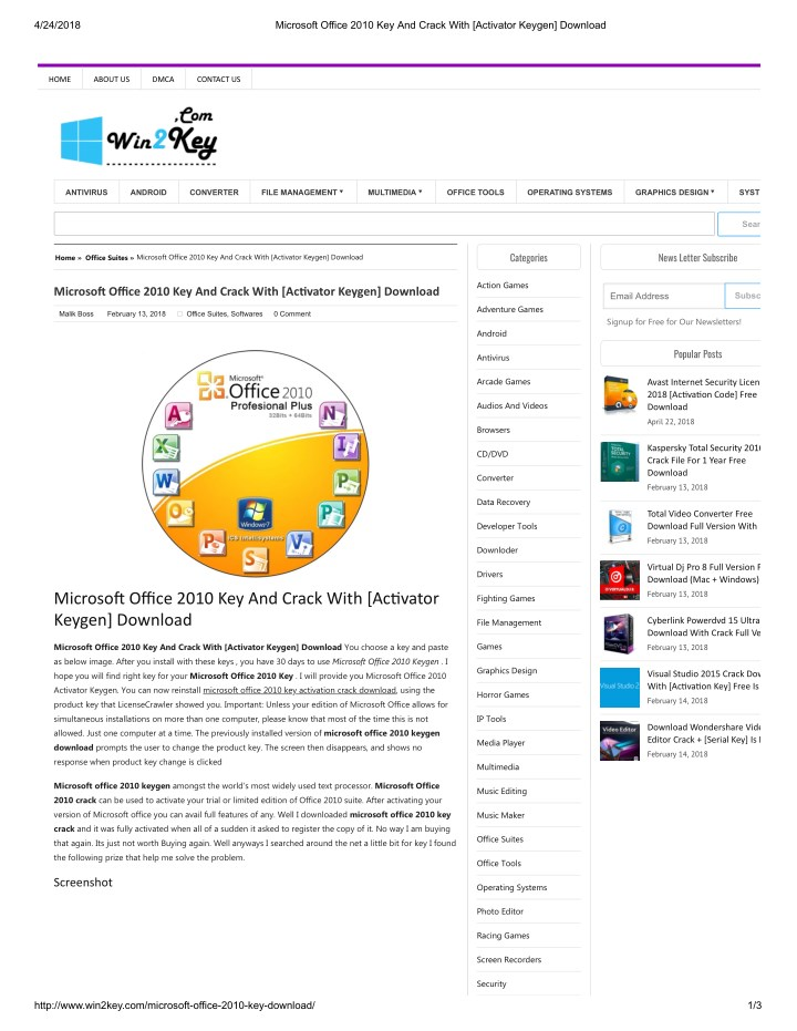 keygen microsoft office 2010 home and business