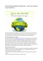 International Mother Earth Day – Save our planet from PLASTIC!