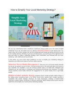 How to Simplify Your Local Marketing Strategy?