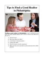 Tips to Find a Good Realtor in Philadelphia