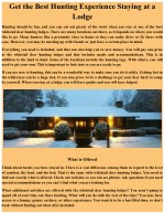 Get the best hunting experience staying at a lodge