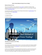 Which is the Best Method of Analysis for Forex Trading