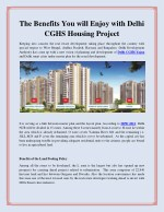 The Benefits You will Enjoy with Delhi CGHS Housing Project