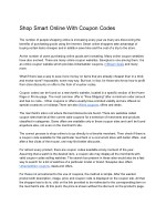 Shop Smart Online With Coupon Codes