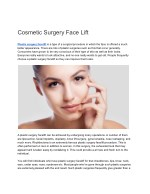 Cosmetic Surgery Face Lift
