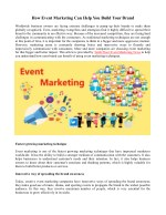 How Event Marketing Can Help You Build Your Brand