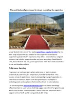 The contribution of greenhouse farming in controlling the vegetation
