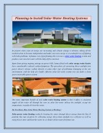Planning to Install Solar Water Heating Systems
