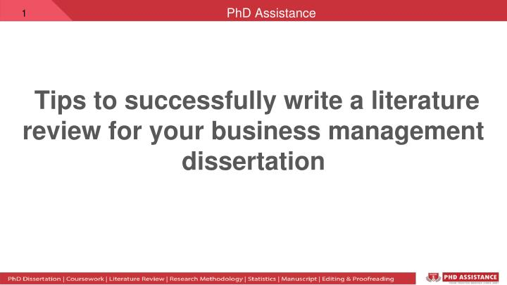 tips to successfully write a literature review for your business management dissertation n.