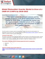 Global Photovoltaic Inverter Market to Grow at a CAGR Of 13.90% by 2018-2022