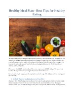 Healthy Meal Plan - Best Tips for Healthy Eating
