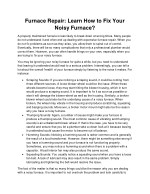 Furnace Repair: Learn How to Fix Your Noisy Furnace?