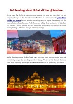 Get Knowledge about Historical Cities of Rajasthan