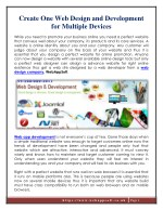 Create One Web Design and Development for Multiple Devices
