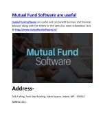 Mutual Fund Software are useful