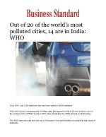 Out of 20 of the world's most polluted cities, 14 are in India: WHO