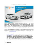 Top Selling Used Cars in India 2018