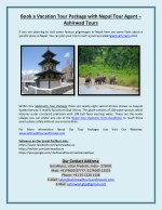 Book a Vacation Tour Package with Nepal Tour Agent – Ashirwad Tours
