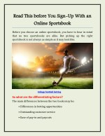 Read This before You Sign-Up With an Online Sportsbook