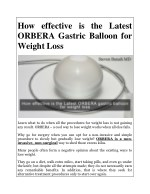 How effective is the Latest ORBERA Gastric Balloon for Weight Loss