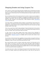 Shopping Smarter and Using Coupons Too