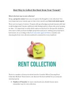 Best Way to Collect the Rent from Your Tenant