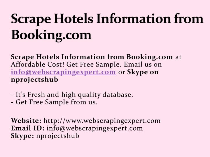 scrape hotels information from booking com n.