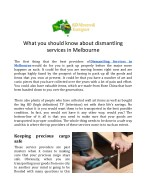 What you should know about dismantling services in Melbourne